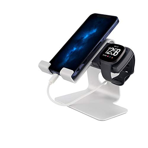 Tranesca Soporte de carga 2 en 1 para Fitbit Versa 3 y teléfono móvil