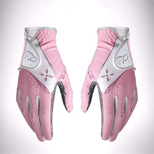 Houer 1 Paar Damen Golfhandschuhe rutschfeste Softhandschuhe Sonnenschutz Atmungsaktive Damen Golfhandschuhe, Pink, 20