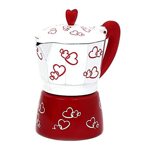 Espresso Cup Moka Pot Red Heart Printing Ekspres Do Kawy Aluminiowy Moka Pot Espresso Mocha Latte Filter (Kolor: Czerwony, Rozmiar: 150 Ml)
