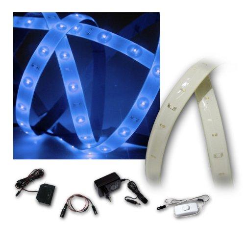 world-trading-net - Juego de 4 tiras de luces LED, color de la luz azul, PCB blanco, 4x 60 LEDs SMD
