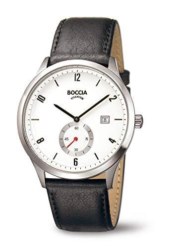 Boccia Herren Digital Quarz Uhr mit Leder Armband 3606-01