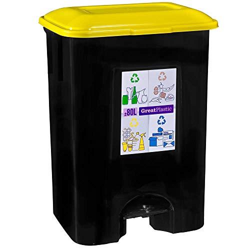 COM-FORT HOUSE | Cubo de Basura con Pedal | Capacidad de 80 litros | Cubo Reciclaje | Color Negro | Cubo de Basura Plástico Cocina | 1 unidad | Piezas Extraíbles | Limpieza Fácil |
