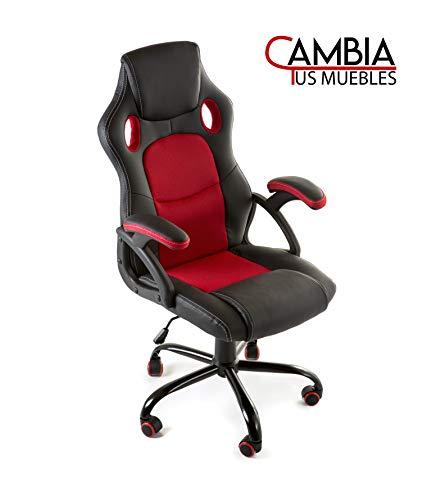 CAMBIA TUS MUEBLES - Silla Gaming X-One sillón Giratorio de Oficina despacho Escritorio, en Negro Rojo Azul y Gris (Rojo)