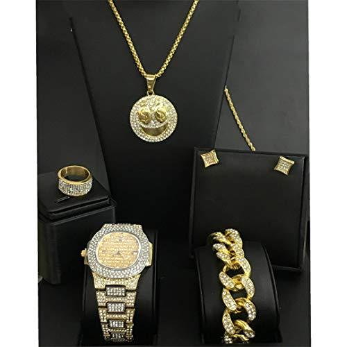 MTRESBRALTS Herren-Armbanduhr, Diamant, Eis, Hip Hop, kubanische Uhr, Halskette, Armband, Ohrringe, Ring, Diamant, Smiley, Gesicht, Schmuck mit Anhänger, Damen, Rosa