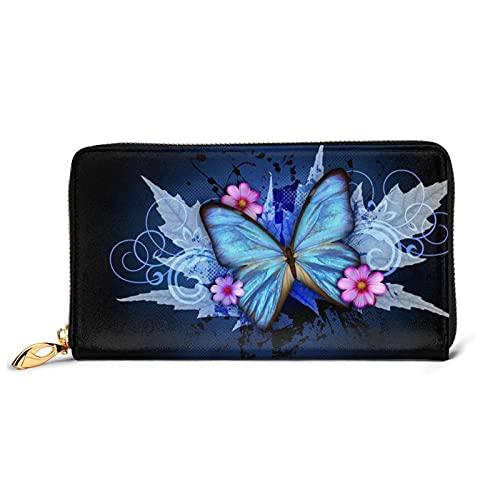 Cartera de cuero azul mariposa moda mujer gran capacidad cambio bolsa de almacenamiento lindo regalo de anime