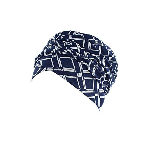Rosennie Kopftuch Damen Turban Drucken Kopftuch Wrap Frauen Baumwolle Plissiert Turban Kopf Schals Elastischer Kopfbedeckungen Bandana Weich Indien Moslemischer Chemo Turban Mütze
