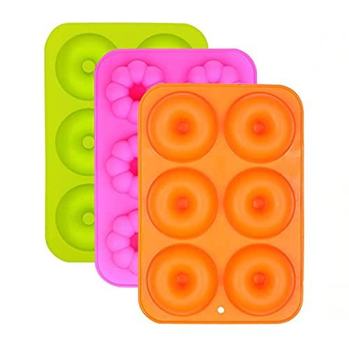 Moldes de Silicona Donut,Resistente al calor a 260 °C,Adecuado para pasteles,Galletas,Bagels, Muffins-Naranja,Rosa Roja,Verde,6 cavidades,Paquete de 3