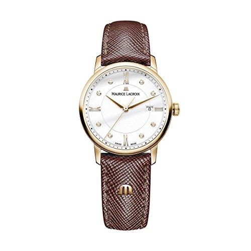 Maurice Lacroix Damen Analog Quarz Uhr mit Leder Armband EL1094-PVP01-150-1