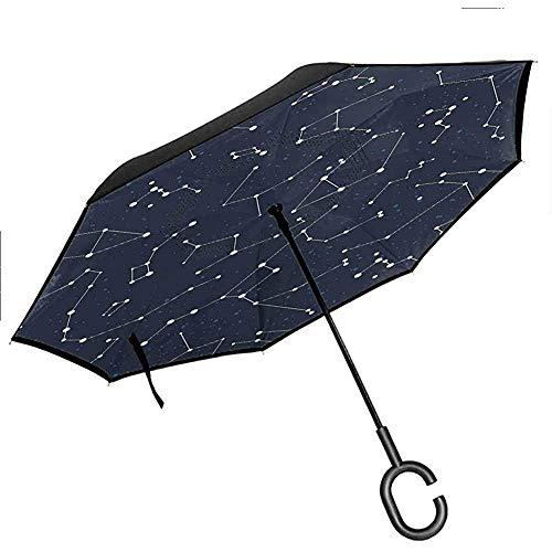 Compass Reverse Umbrella Alte Seekarte Alte Karte Historische Gebiete Geographische Illustration Regenschirm, Beige Navy