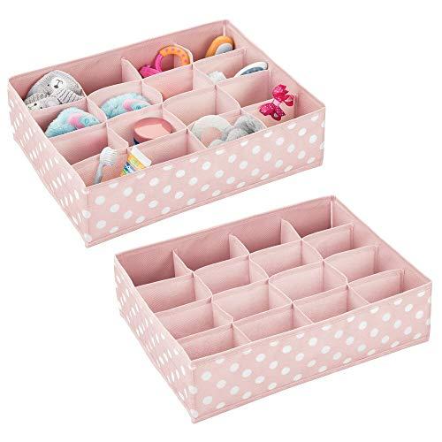 mDesign Juego de 2 Cajas de almacenaje para Habitaciones Infantiles o baños – Cestas organizadoras en Fibra sintética de Lunares – Organizadores de armarios con 16 Compartimentos – Rosa/Blanco