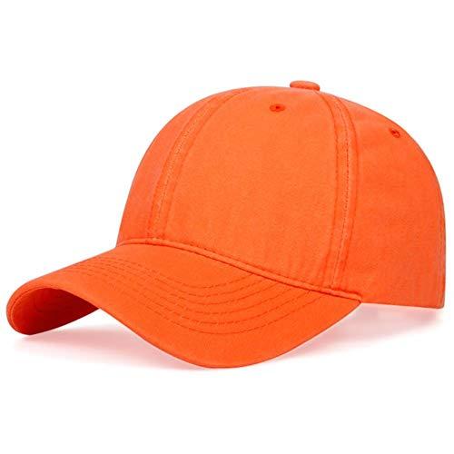 Coton Mode Chapeau Hip-Hop Réglable Couleur Unie Macaron Papa Casquettes Hommes Femmes Snapback Chapeau De Soleil Ombre en Plein Air,Orange