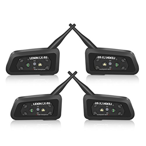 LEXIN 4x Waterproof Bluetooth Intercom System for Motorcycles/Motorbikes - Connect Up to 6 Riders At Max 1000 M Distance - 2-Way Radio Helmet Headset - Connects to Bluetooth Mobile Phones