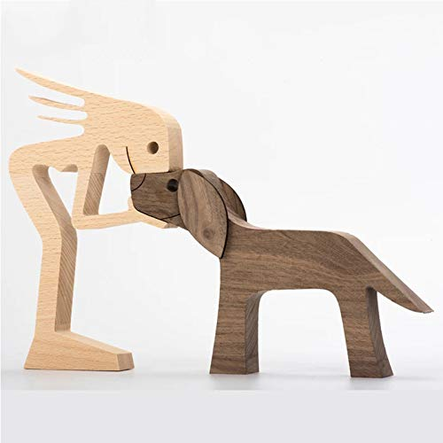 Family Puppy Wooden Carving Ornaments, Always Be with Me Pet Dog Family Woodcarving Decorations Crafts Home Office Desktop Men Women Boys And Girls Old People Creative Gifts