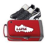 Nametape Express Sac de sport personnalisé avec nom et motif chaussure de football/rugby, excellent choix de couleurs (rouge)