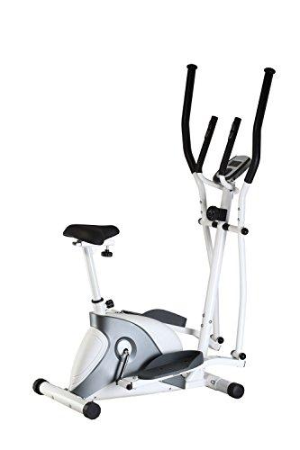 AsVIVA 2in1 Cardio Elliptical Crosstrainer, Heimtrainer (12kg Schwungmasse), Bluetooth Computer (App Nutzung), 8 Widerstandsstufen, flüsterleiser Riemenantrieb, weiß