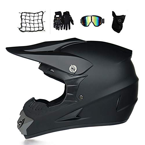 Motocross Helm Herren Schwarz, Fullface-Helm/Brille/Handschuhe/Maske/Motorrad Netz, Motorradhelm Crosshelm Crossbike MTB Downhill Enduro Off Road Cross Helm Mopedhelm (M)