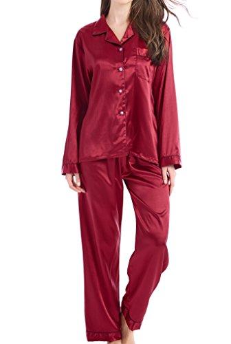 Damen Schlafanzug Pyjama Satin Lang Nachtwäsche Set Klassische Loungewear (Burgunder mit schwarzer Linie, L)