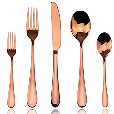 Flatware sets, Rose Gold, AOOSY Luxury 20 Pieces Rose Gold Plated Copper Color 18/10 Stainless Steel Silverware Flatware Sets Spoons Knives and Forks Set, Service for 4 People
