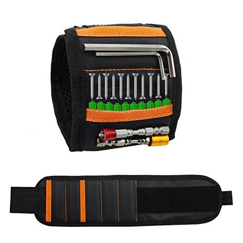 Gadgets de pulsera magnética para hombres, los mejores regalos de bricolaje para hombres o papá, pulseras para hombres con 15 potentes imanes y 2 bolsillos para herramientas largas