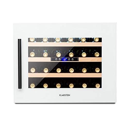 KLARSTEIN Vinsider - Built-In Duo Quartz Edition, Frigo per Vini a Incasso, Cantinetta, Telaio QuartzCrystal con Frontale in Vetro, 2 Zone Raffreddamento, 5-22 °C, Classe B, 24 Bottiglie, Bianco