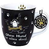 sheepworld Die Geschenkewelt 45704 Tasse Ohne Hund ist alles doof, Porzellan, sheepworld Design, 40 cl, mit Geschenk-Tag, schwarz-weiß