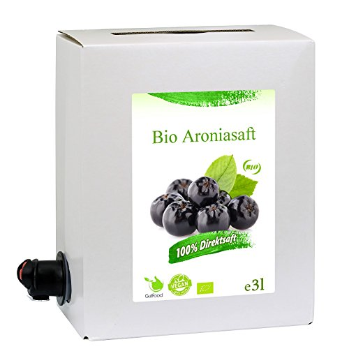 GutFood - 3 Liter Bio Aroniasaft - Bio Aronia Saft in praktischer Bag in Box Packung ( 1 x 3 l Saftbox ) - Muttersaft aus Erstpressung in absoluter Spitzenqualität aus ökologischem Landbau