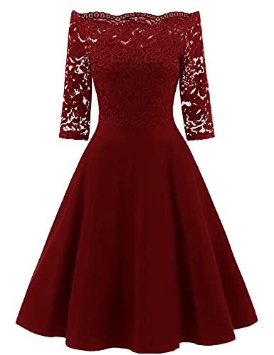 LA ORCHID Laorchid Damen Rockabilly Kleid Knielang elegant Sommerkleid Damen Vintage Spitze cocktailkleid Kurzarm Kleider schulterfrei...