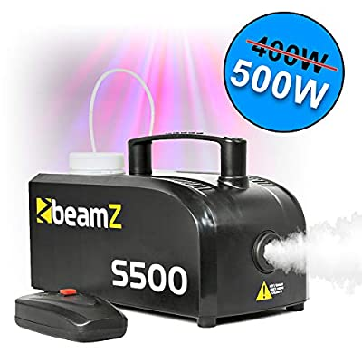 beamz Mini Compact s-500 Watt Smoke Fog Machine with Wired Remote Control and.