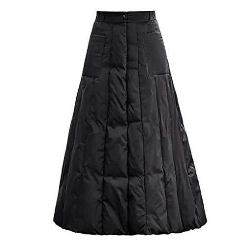 OMKMNOE Damen Outdoor Rock Helix Skirt, Women Thermorock Winter Expandable Daunenrock Dicke Warme Kleine Daunendecken Slim Fit Hohe Taille Schlanken Langer Weiblicher,Schwarz,XXL