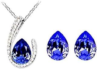 Legisdream - Juego de Collar con Colgante de Gota y Pendientes con Cristales y circonitas, día de la Mujer