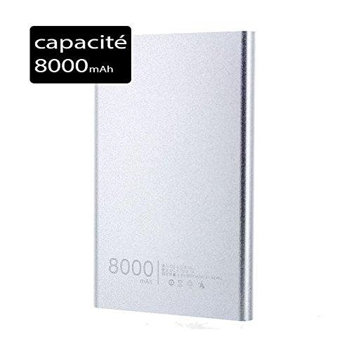 Power Bank Batería de Reserva Externo Slim 8000mAh para LG X CAM Plata