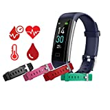 MCNNADI Fitness Tracker [4 Extra Straps] Blood Pressure, Heart Rate, Blood Oxygen, Temperature & Sleep Monitor, Activity Tracker, Customizable face, Remote Camera, Waterproof, Pedometer Watch (Blue)