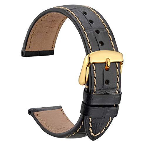 WOCCI 20mm Correa de Reloj de Cuero Repujado Cocodrilo con Hebilla Dorada, Correas de Repuesto para Hombres (Negro con Costura Beige)