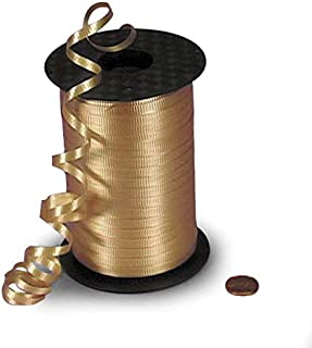 "Flat Gold Crimped Curling Ribbon 3/16"" X 500 Yards"