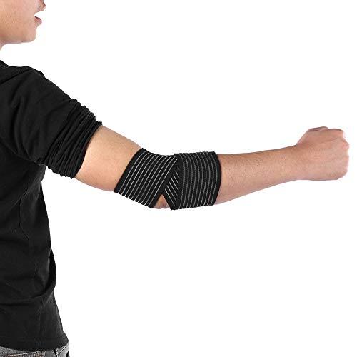 Demeras Justerbara armbågsomslag med krok och ögla elastiskt armbågsstöd andningsbart bandage för fitness tyngdlyftning