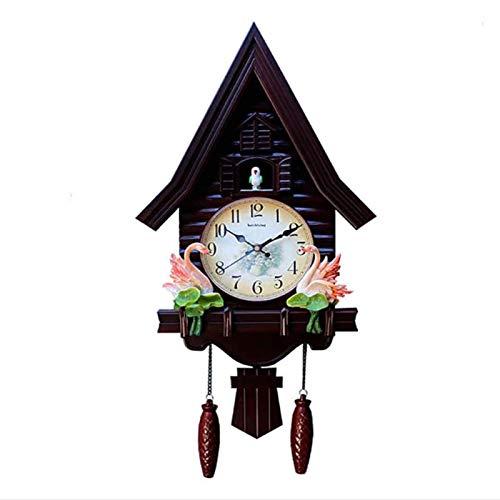 DongSheng Mini Reloj de Cuco Moderno, Reloj de Pared de la casa del árbol Reloj de Pared de Cuco Moderno, Sala de Estar, Dormitorio, Sala de niños, Reloj, Reloj de Cuarzo silencioso, Rojo,Brown Brown