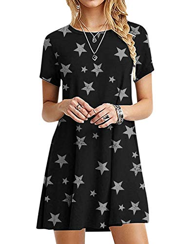 YOINS Mini vestidos de manga corta casual sueltos con estamp