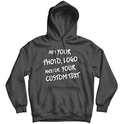 lepni.me Sudadera con Capucha Regalo Personalizado, Agregar Logotipo de la Compañía, Diseño Propio o Foto (XX-Large Grafito Multicolor)