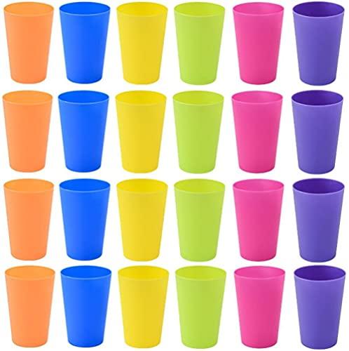 KAHEIGN 24Pz Riutilizzabile Bicchieri Di Plastica, 250ml Bambini Durevole Bicchieri In Plastica Bicchieri Impostato Per Feste All'aperto In Cucina Picnic Viaggi Con Barbecue (6 Colori Vivaci)