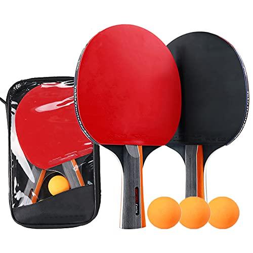 symagal Juego de tenis de mesa con 2 raquetas de goma de doble cara, 3 pelotas de ping pong, 1 bolsa portátil para jugadores de ping pong, principiantes, aficionados y profesionales