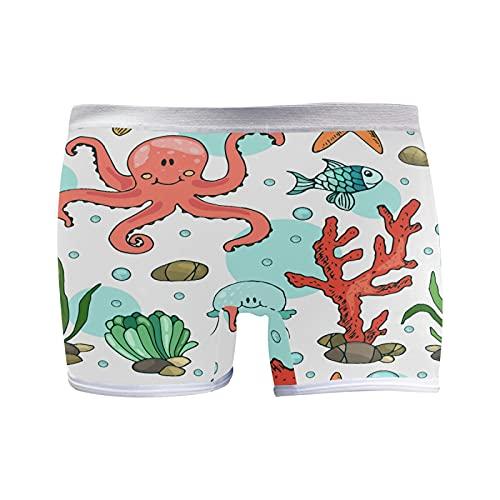 PUXUQU Boxer da donna Panties dolce oceano vita di pesce d'inchiostro multicolore L