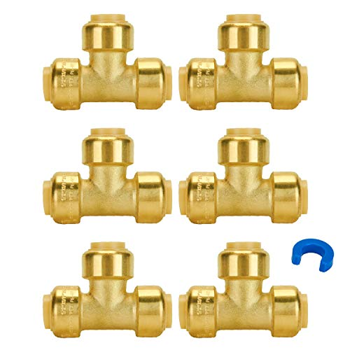 SUNGATOR 6-Pack 1/2-Inch Push Fit Plumbing Tee, Push-to-Connect Plumbing Fittings, Brass Pipe Connector T Fittings for Copper, PEX, CPVC, Lead Free Certified