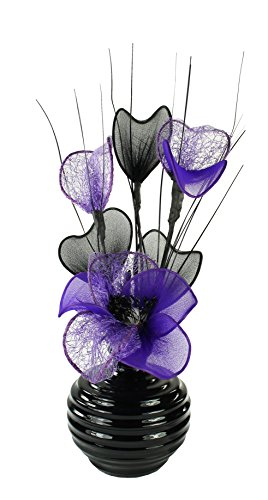 Lila Pflaume Violett Künstliche Blumen Mit Schwarz Vase, Deko, Wohnaccessoires & Deko Geeignet für Bad, Schlafzimmer Oder Küche Fenster / Regal, 32cm