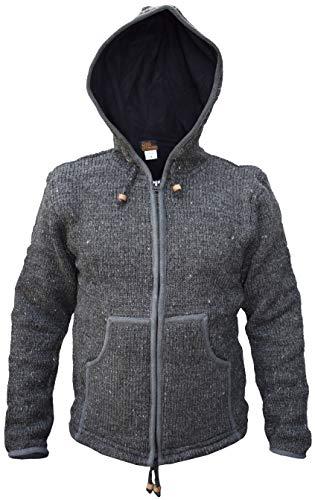 LITTLE KATHMANDU Herren Woll Gestrickt Handgefertigt Sherpa Jacke Kapuzenpullover Hppdie Jacket Charcoal X-Large