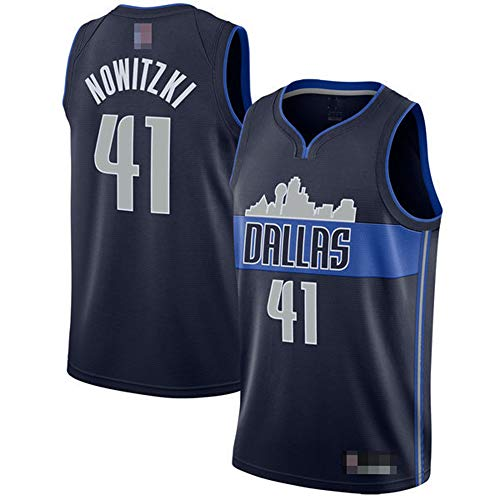 Männer Trikots, NBA Dallas Mavericks # 41 Dirk Nowitzki - Klassische Basketball Sportswear Lose Komfortwesten Tops Sleeveless T-Shirts Uniformen,Blau,XL(180~185CM)