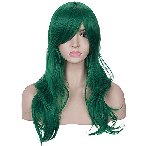 Morvally 23 inches Long Wig Big Wavy Heat Resistant Synthetic Straight Hair with Bangs for Cosplay Costume Halloween Party (Green)