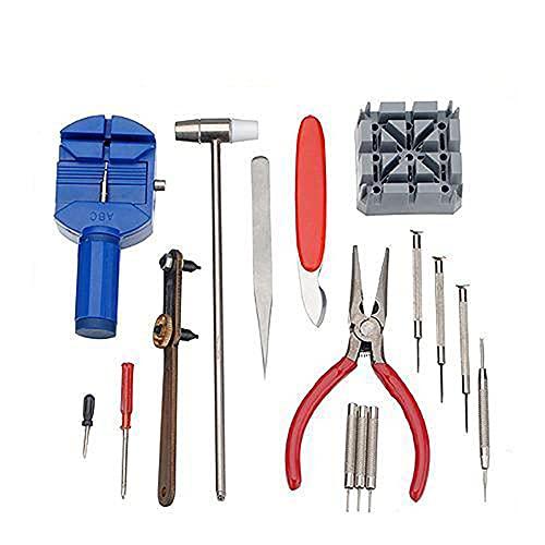 JKKJ Juego de herramientas de reparación de relojes de lujo de 16 piezas para abridor de relojes, herramientas de repuesto para desenganche de banda de reloj y removedor de retroceso