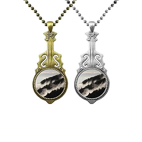 Halskette mit Anhänger, Nebel, Wald, Nebel, Himmel, Wolken, Berg, Musik, Gitarre, Schmuck