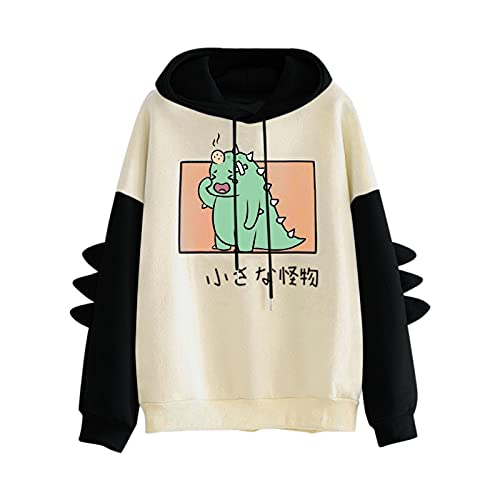 Damen Elegant Festlich 2021 Neuer Frauen Drucken Hoodie Sweatshirt Damen Langarm Pullover Tops Party Abend Strand Langarm Shirt Kapuze Dinosaurier Spleißen Hoodie