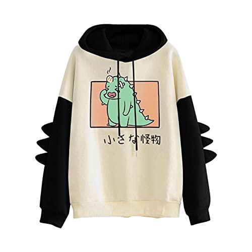 Pianshanzi Sudadera de manga larga para mujer, diseño de dinosaurio Kawaii con capucha, manga larga con cordón, para mujer, B negro., XL